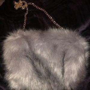 Handbags - Grey Faux Fur Purse